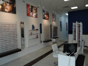 inside eye clinic with choices of eyeglasses